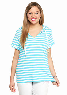 crown & ivy™ beach Plus Size Striped Hooded Pullover