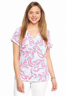 crown & ivy™ beach Plus Size Lobster Print Hooded Pullover
