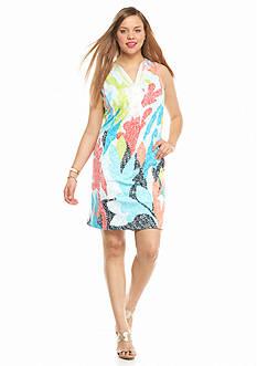 crown & ivy™ Plus Size Printed Soutash Ponte Dress