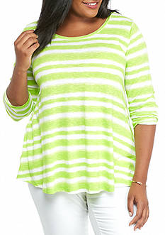 crown & ivy™ Plus Size Striped Swing Top
