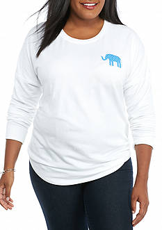 crown & ivy™ Plus Size Long Sleeve Elephant Print Sweeper