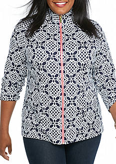 crown & ivy™ Plus Size Printed Full Zip Sweatshirt