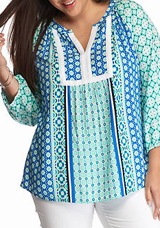 crown & ivy™ Plus Size Embroidered Peasant Top