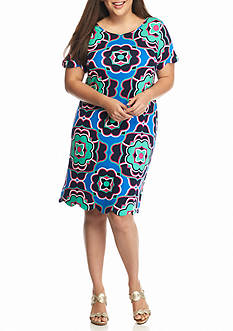 crown & ivy™ Plus Size Printed Scallop Hem Dress