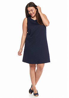 crown & ivy™ Plus Size Jacquard Swing Dress