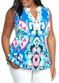 crown & ivy™ Plus Size Crochet Neck Tunic Top