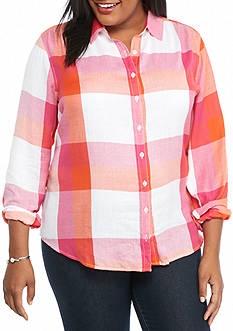 crown & ivy™ Plus Size Plaid Shirt