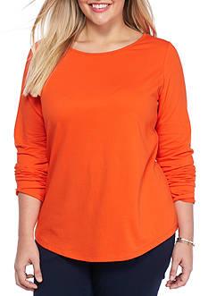 crown & ivy™ Plus Size Solid Zip Back Sweatshirt