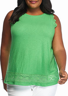 crown & ivy Plus Size Crochet Trim Tank