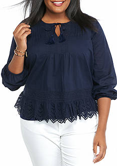 crown & ivy™ Plus Size Front Tie Peasant Top