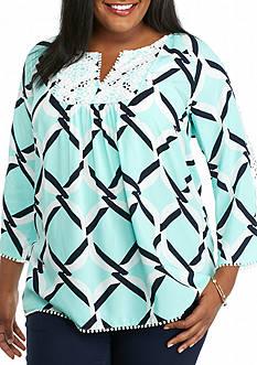 crown & ivy™ Plus Size Crochet Trim Top