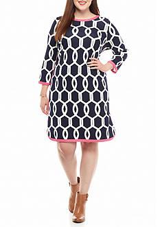 crown & ivy™ Plus Size Contrast Ponte Dress