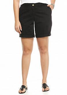 crown & ivy™ Plus Size Rolled Hem Shorts