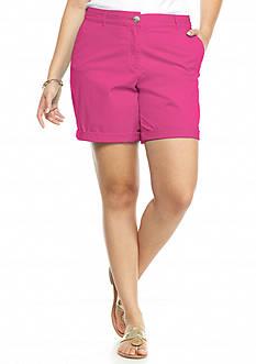 crown & ivy™ Plus Size Rolled Hem Shorts