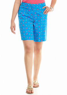crown & ivy™ Plus Size Flamingo Printed Long Shorts