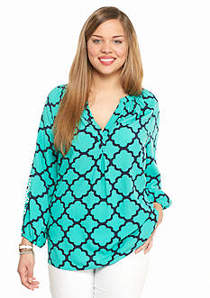 crown & ivy™ Plus Size Moroccan Medley Top