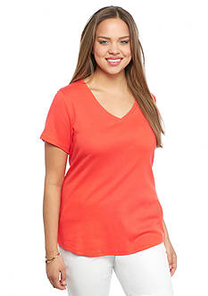 crown & ivy™ Plus Size Solid V-Neck Tee
