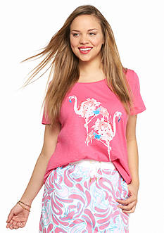 crown & ivy™ Plus Size Two Flamingos Embellished Swing Tee