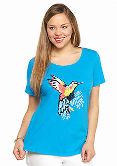 crown & ivy™ Plus Size Hummingbird Embroidered Swing Tee