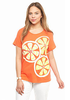 crown & ivy™ Plus Size Embellished Citrus Slice Swing Tee
