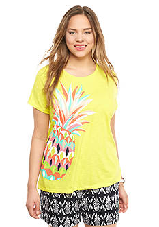 crown & ivy™ Plus Size Pineapple Swing Tee