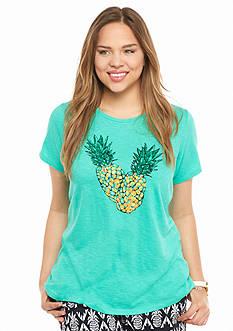 crown & ivy™ Plus Size Embellished Pineapple Print Swing Tee