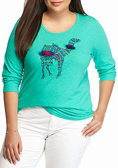 crown & ivy™ Plus Size Tassel Camel Tee