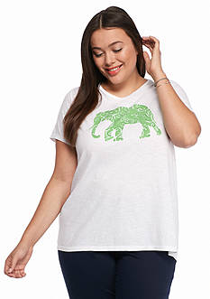 crown & ivy™ Plus Size Elephant Swing Tee