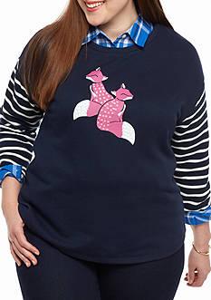 crown & ivy™ Plus Size Stripe Fox Sweatshirt