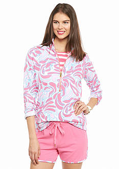 crown & ivy™ beach Lobster Swirl Half Zip Sweatshirt
