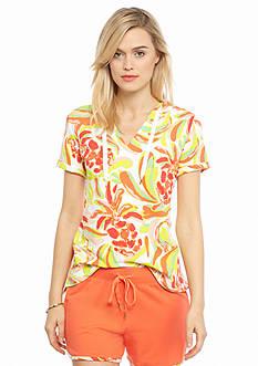 crown & ivy™ beach Watercolor Printed Short Sleeve Hoodie