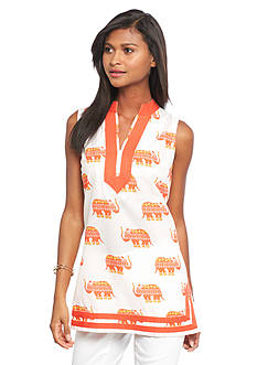 crown & ivy™ beach Festive Elephant Tunic