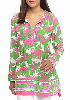 crown & ivy™ beach Layered Crab Border Print Tunic Top