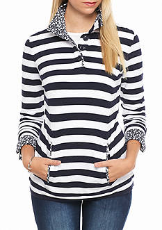 crown & ivy™ Novelty Button Neck Mock Top