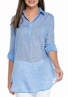 crown & ivy™ beach Solid Popover Tunic