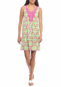 crown & ivy™ beach Crochet Trim Swing Dress