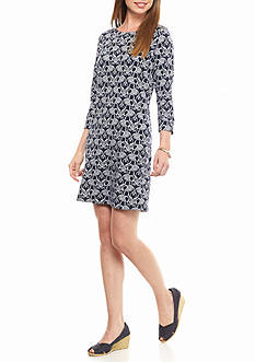 crown & ivy™ 3/4 Sleeve Elephant Print Dress