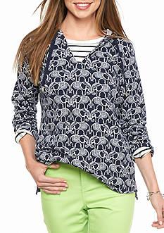 crown & ivy™ beach Elephant Printed Hooded Sweatshirt
