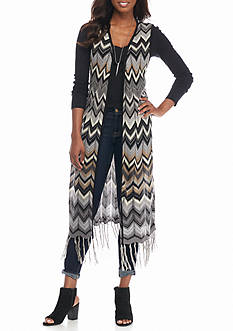 New Directions Long Chevron Fringe Vest
