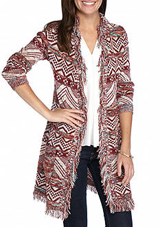 New Directions Aztec Patterned Fringe Cardigan