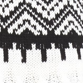 Sweaters for Women: Hooded: Black/ White New Directions Shirttail Fringe Trim Hooded Sweater