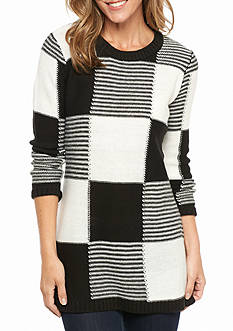 New Directions Colorblock Side Slit Tunic