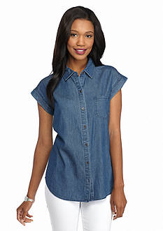 New Directions Weekend Split Back Chambray Shirt