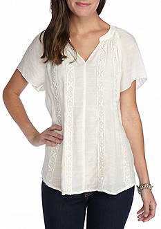 New Directions Flutter Sleeve Lace Shirt