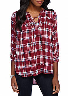 New Directions Weekend Plaid Lace Up Peasant Shirt