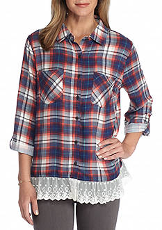 New Directions Weekend Plaid Lace Hem Shirt