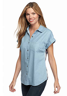 New Directions Weekend Chambray Plaid Back Shirt