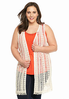 New Directions Plus Size Crochet Trim Vest