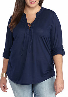 New Directions Plus Size Lace-Up Tunic