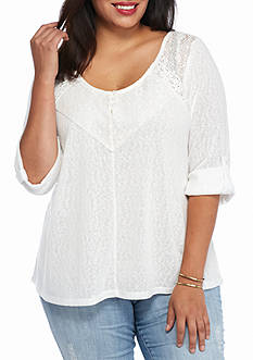 New Directions Plus Size Babydoll Crochet Top